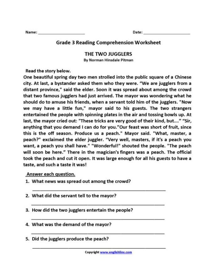 Grade 3 Reading Comprehension Worksheets Pdf