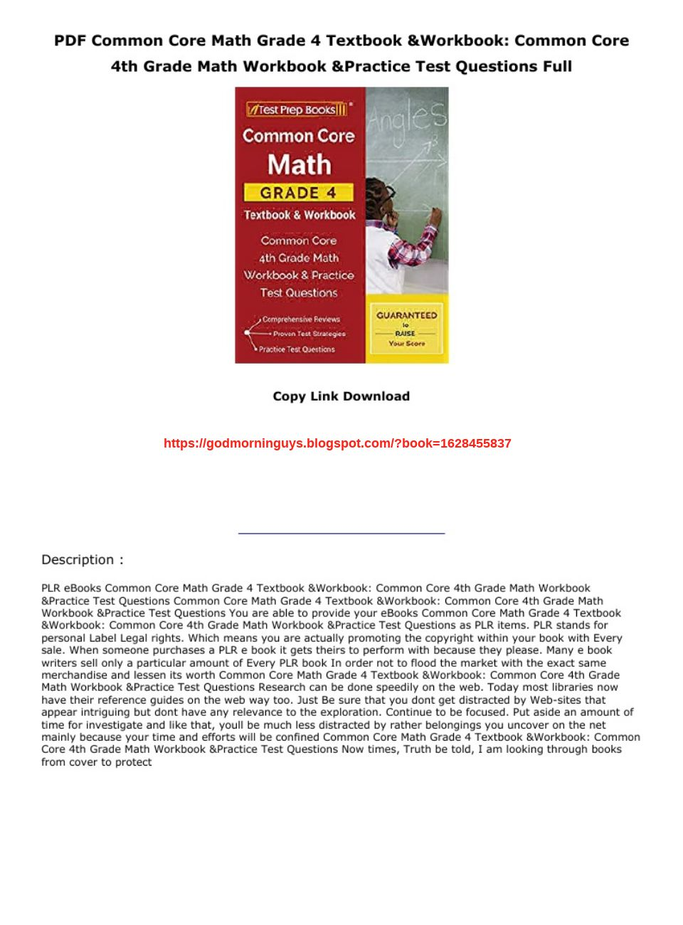 Grade 4 Math Workbook Pdf