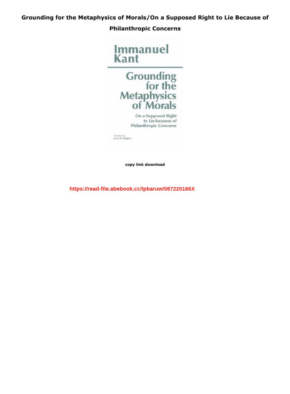 Grounding For The Metaphysics Of Morals Pdf