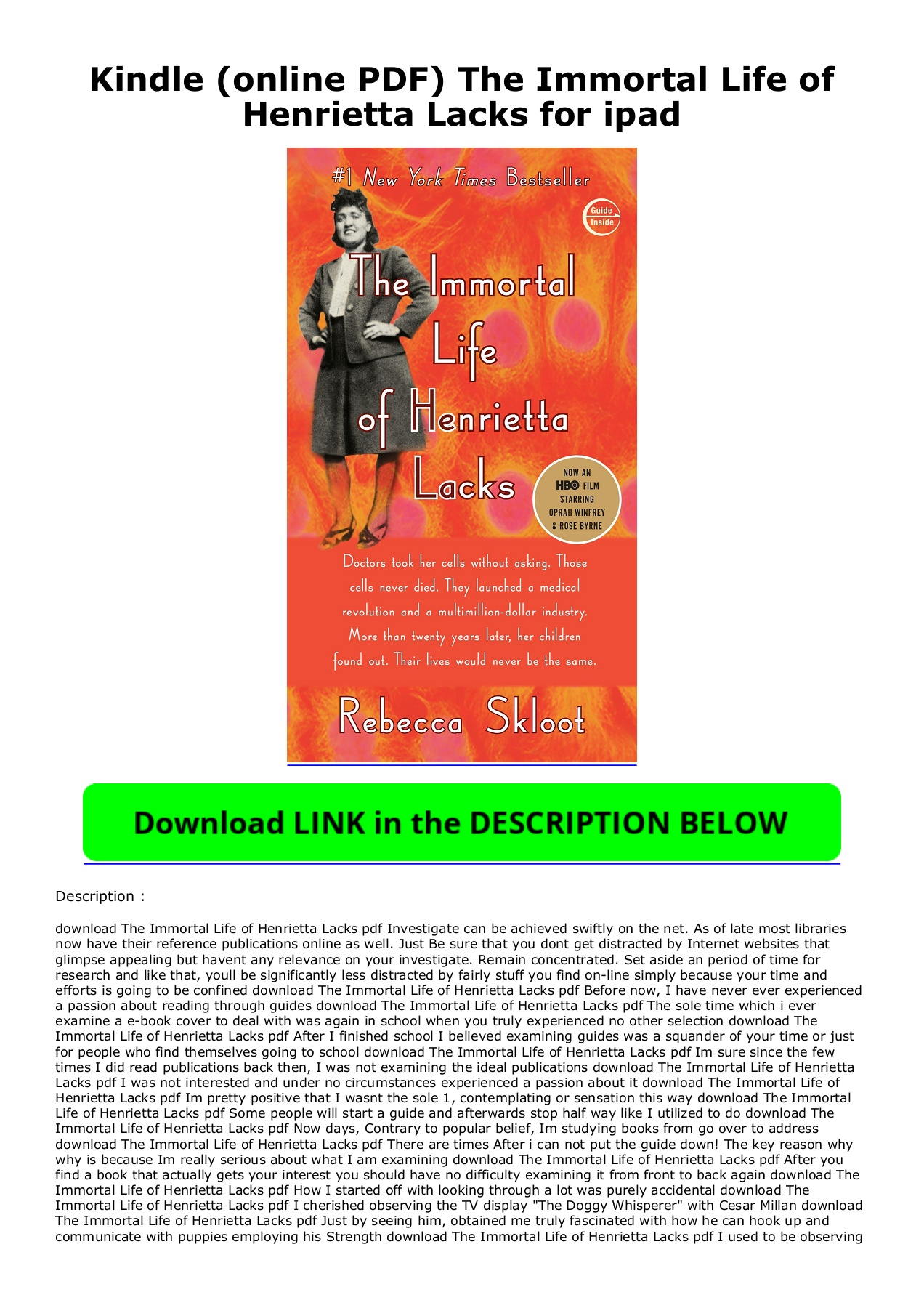 Henrietta Lacks Pdf