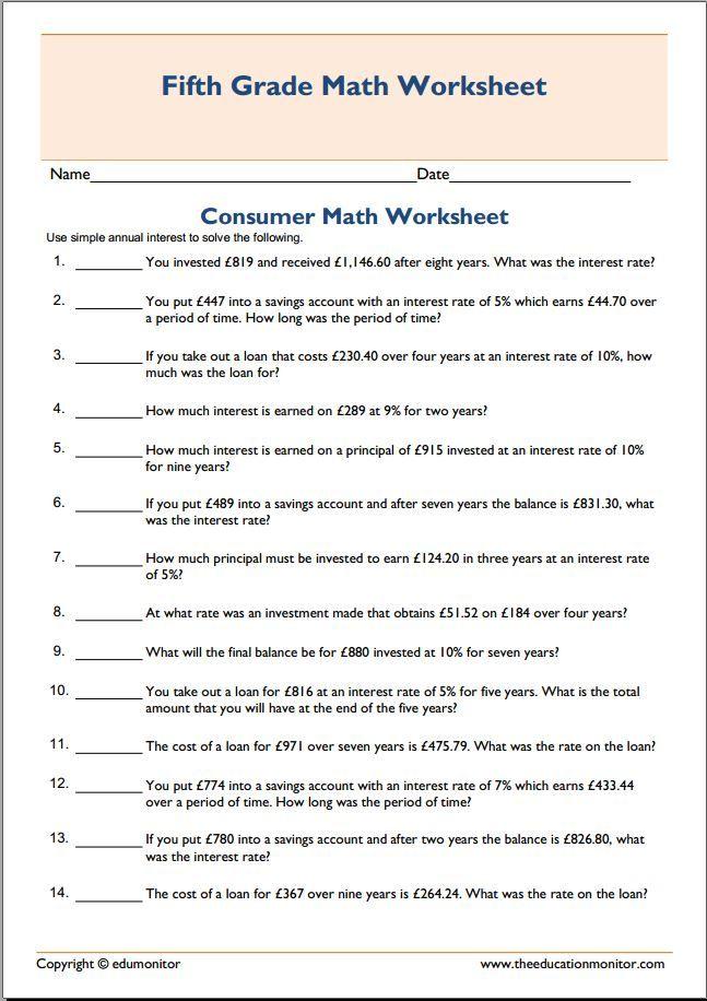 High School Consumer Math Worksheets Pdf
