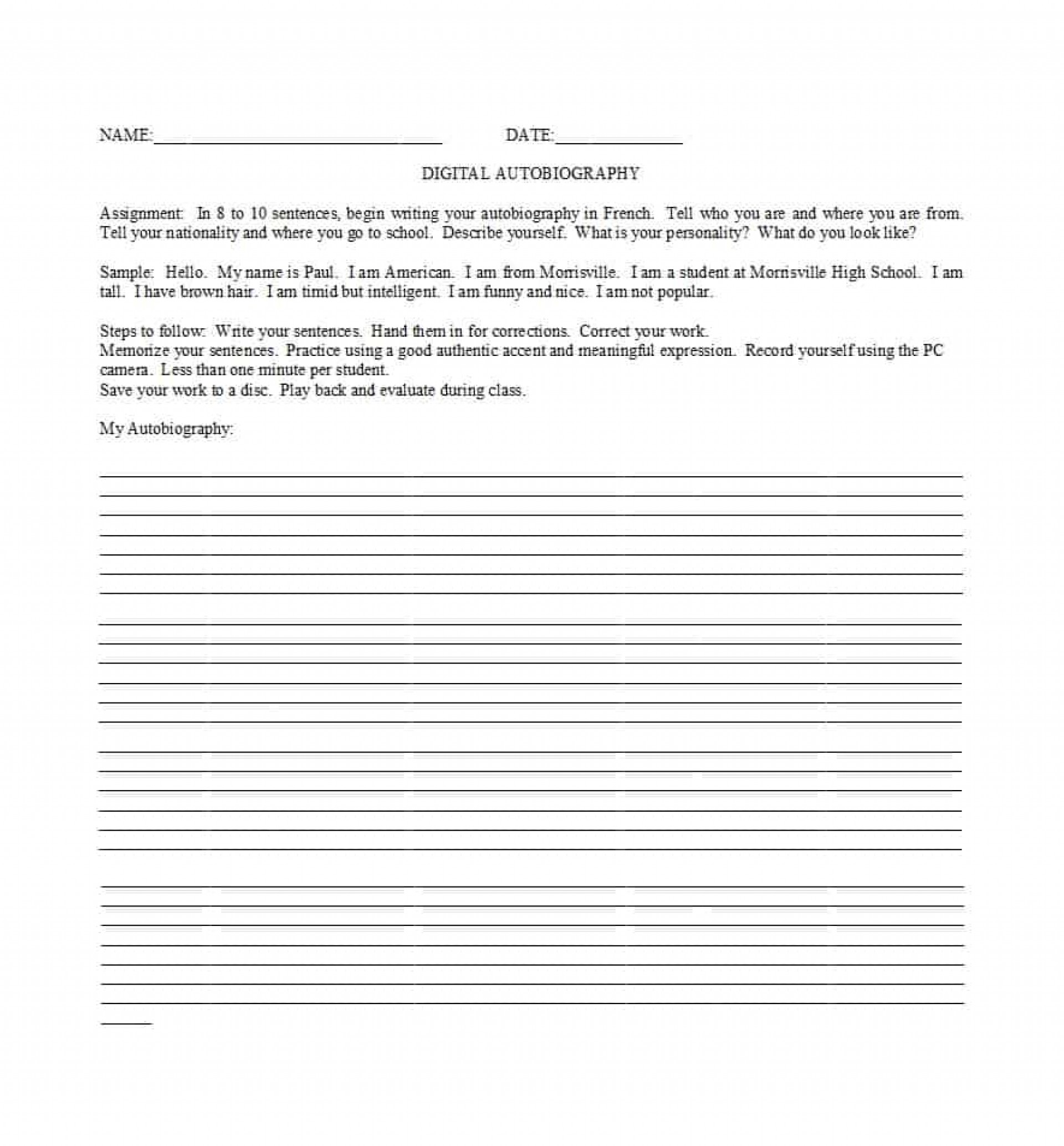 High School Student Autobiography Example Pdf