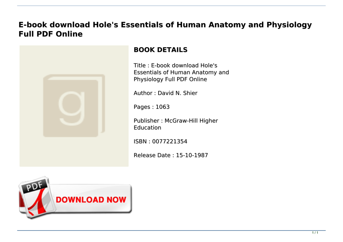 Human Anatomy And Physiology Book Pdf