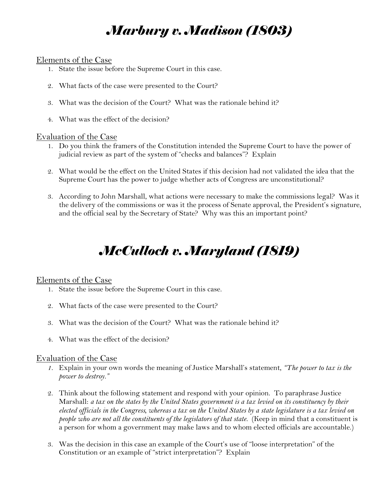 Marbury V Madison Pdf Worksheet