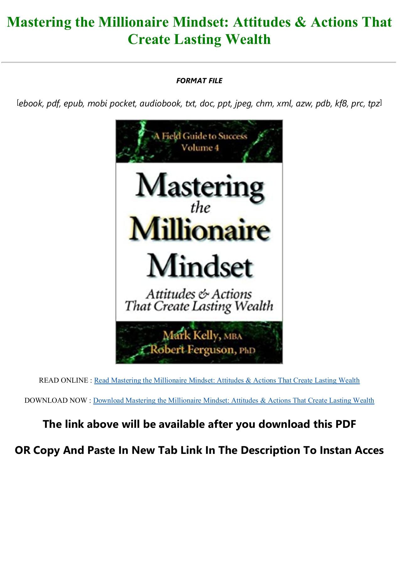 Millionaire Mindset Pdf