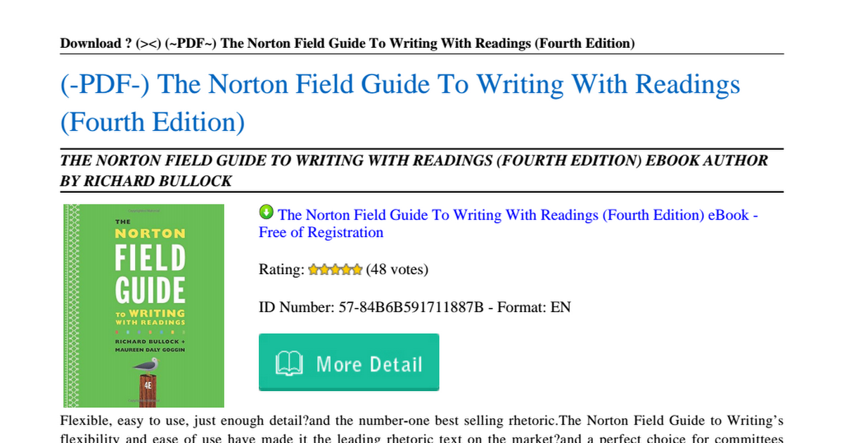Norton Field Guide To Writing Pdf Free