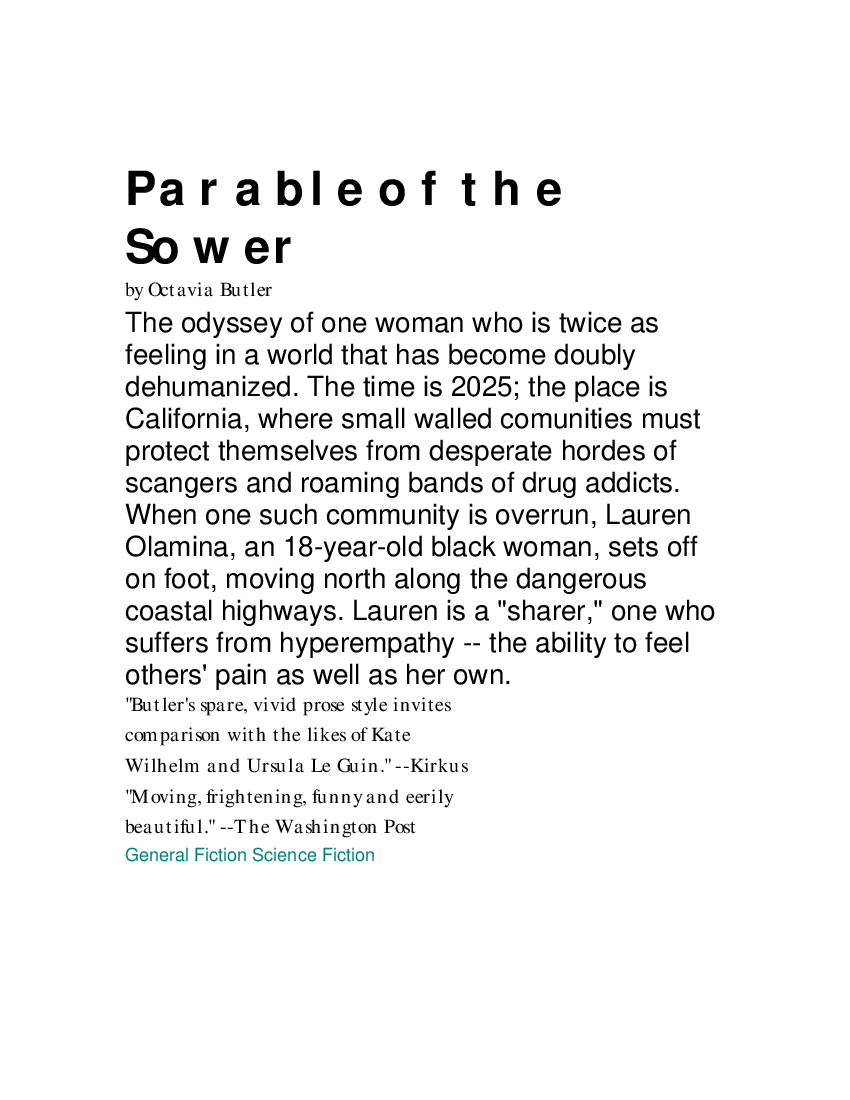 Octavia Butler Parable Of The Sower Pdf