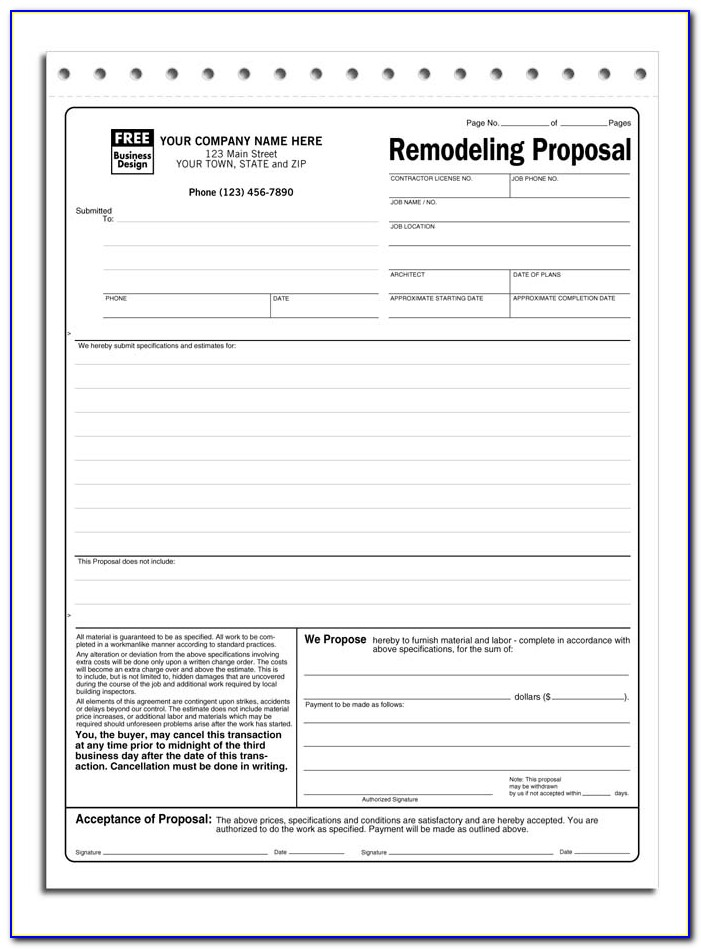 Pdf Contractor Proposal Template