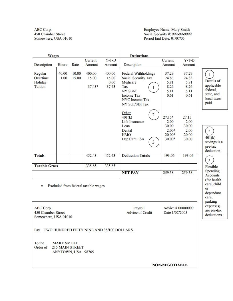 Pdf Editable Free Pay Stub Template