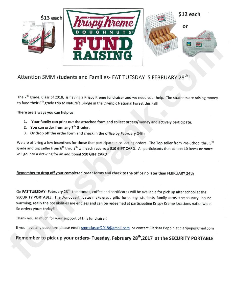 Printable Krispy Kreme Fundraiser Form Pdf