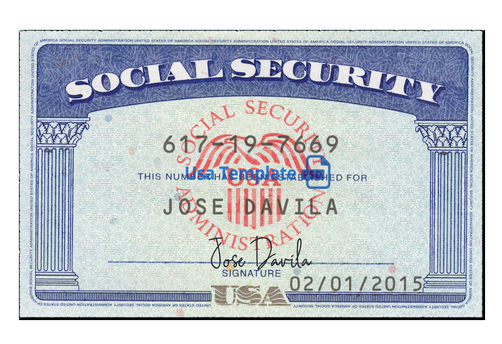 Printable Social Security Card Template Pdf Free