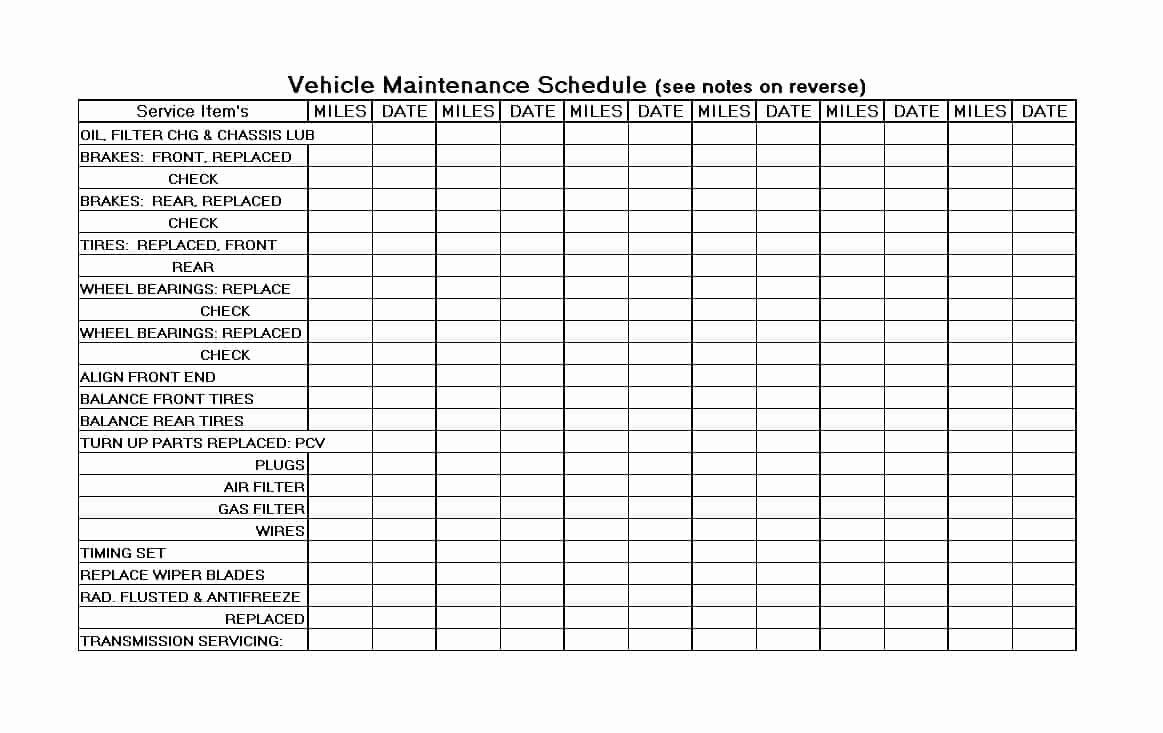Printable Vehicle Maintenance Log Pdf