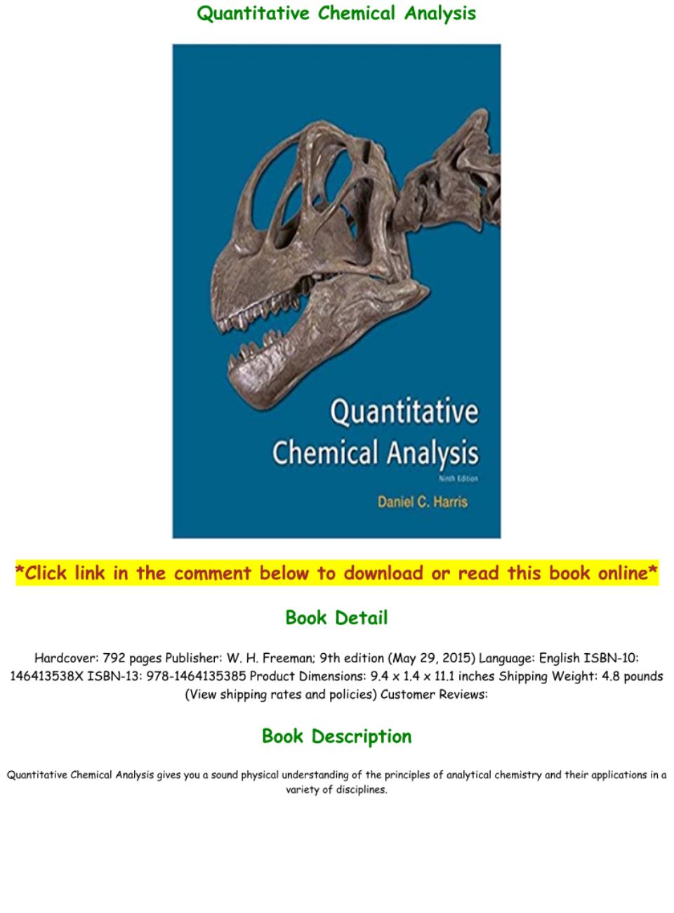 Quantitative Chemical Analysis 9th Edition Pdf Download