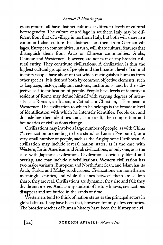 Samuel Huntington Clash Of Civilizations Pdf