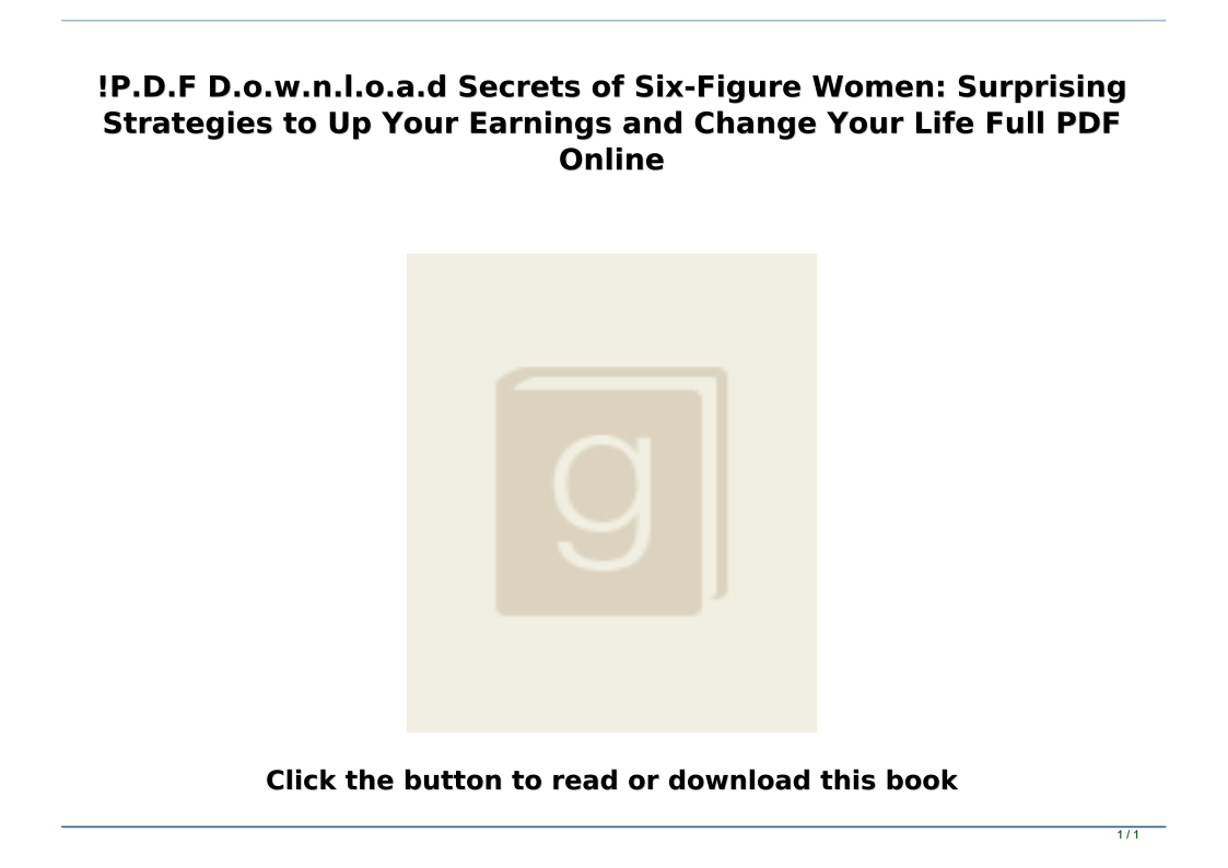 Secrets Of Six Figure Women Pdf