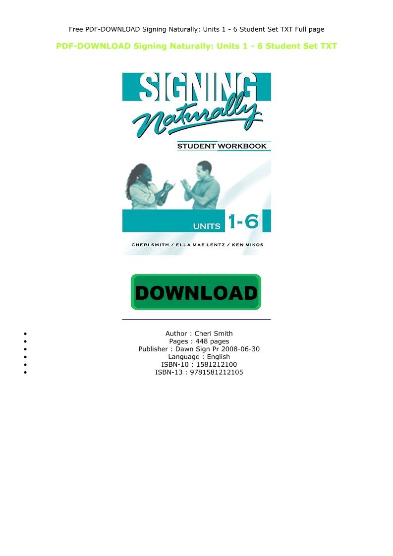 Signing Naturally Pdf Download