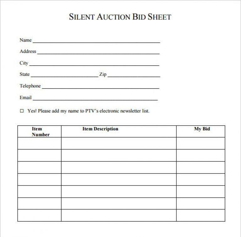 Silent Auction Bid Sheet Pdf