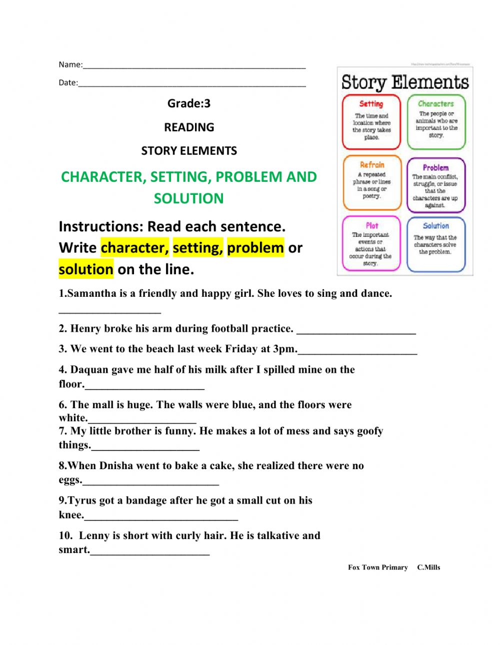 Story Elements Worksheet Pdf Grade 4