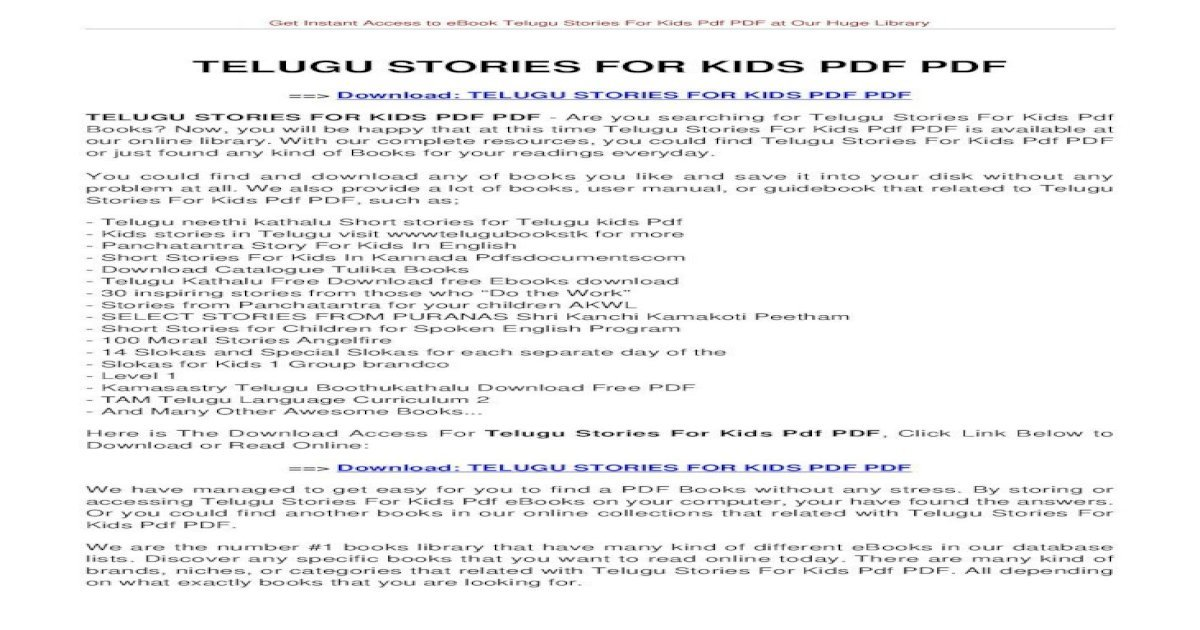 Telugu Stories For Kids Pdf