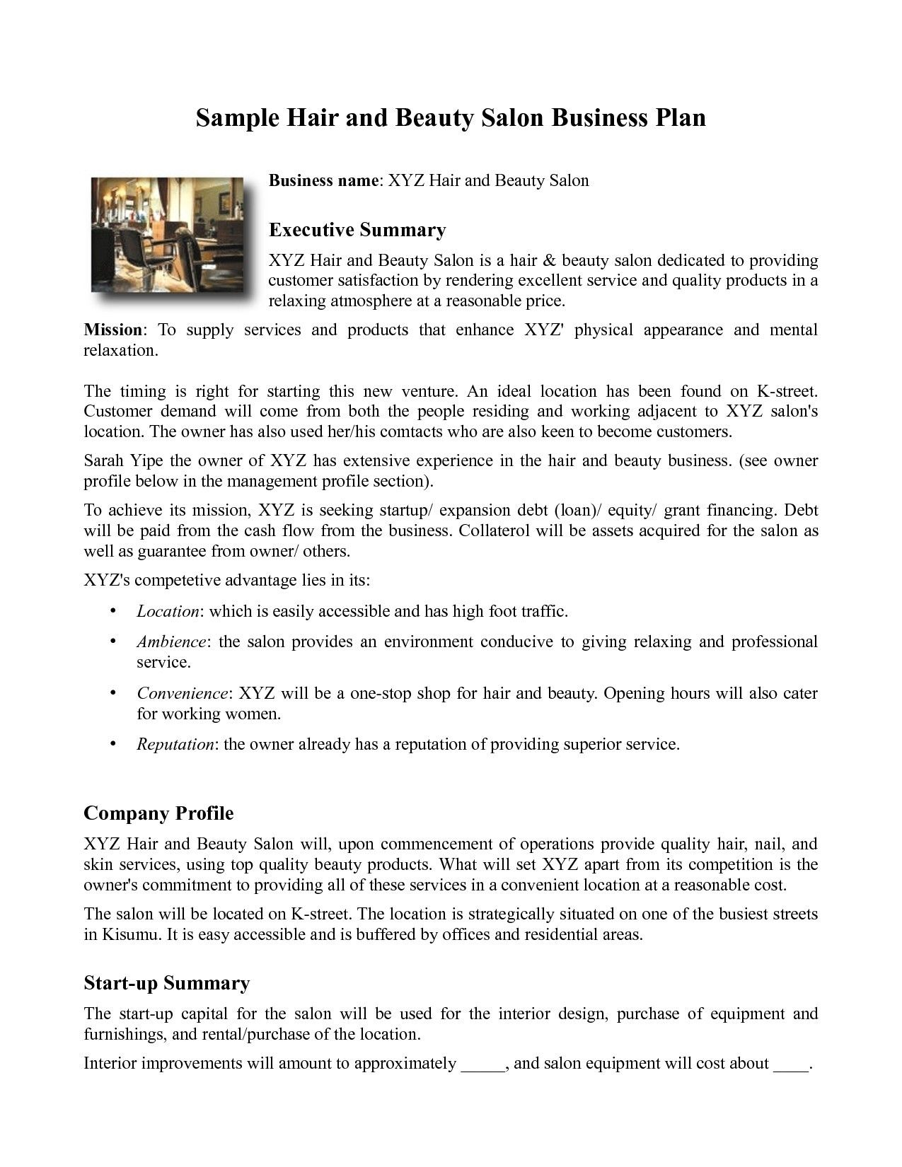 Template Hair Salon Business Plan Pdf