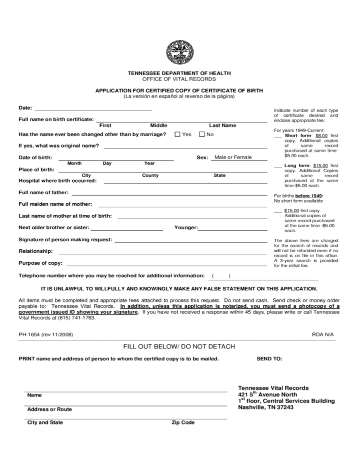 Tennessee Birth Certificate Application Pdf