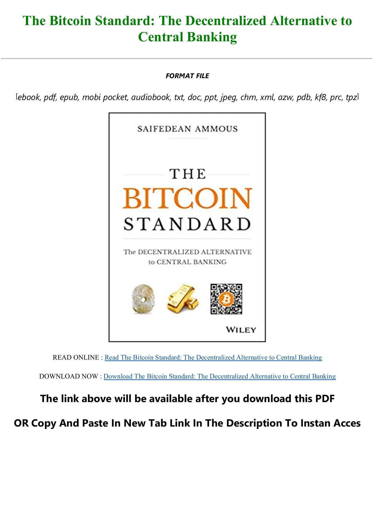 The Bitcoin Standard Pdf Book