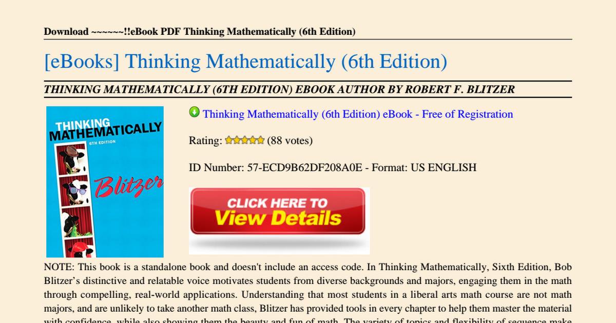 Thinking Mathematically 6th Edition Pdf