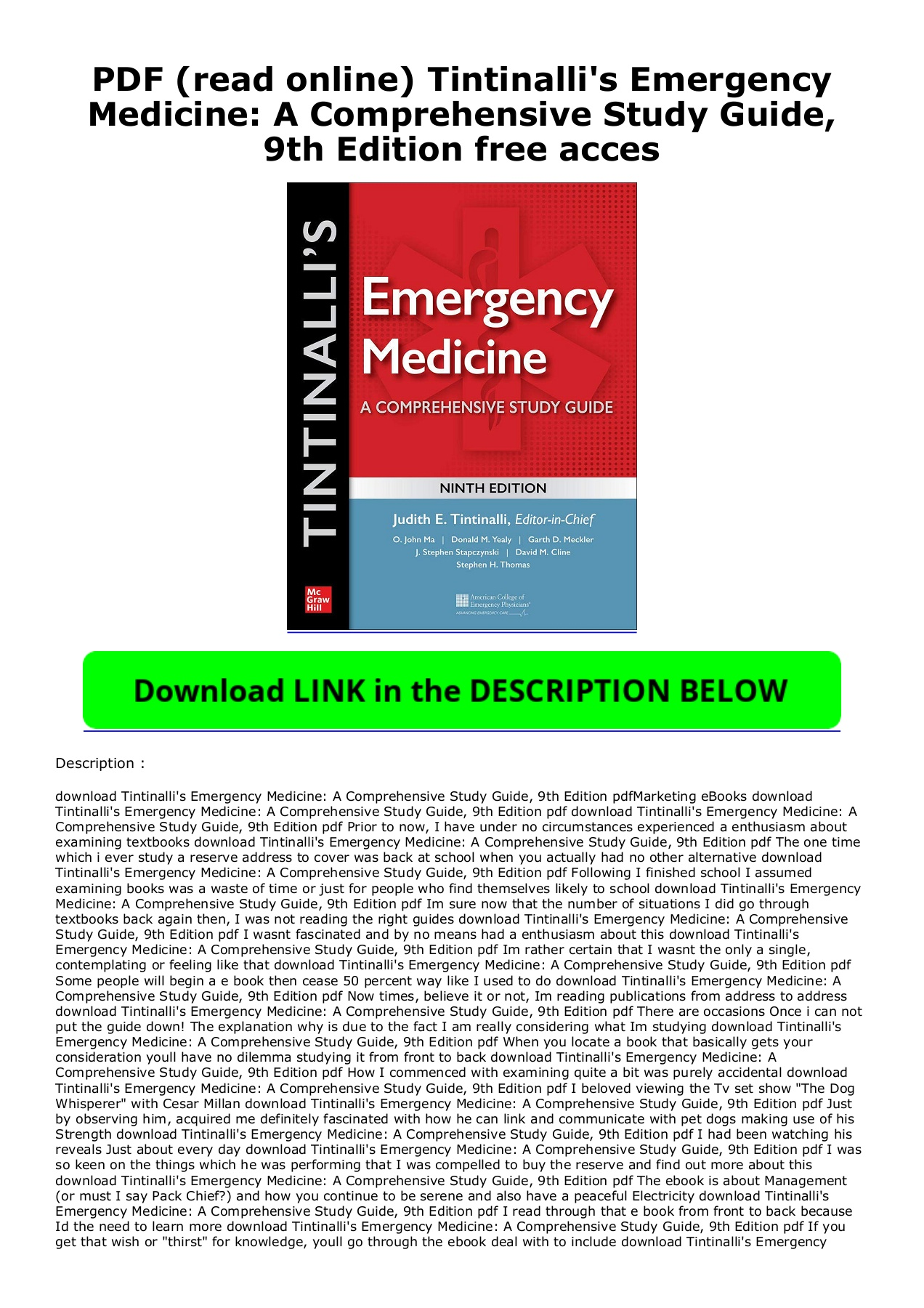 Tintinalli Emergency Medicine 9th Edition Pdf