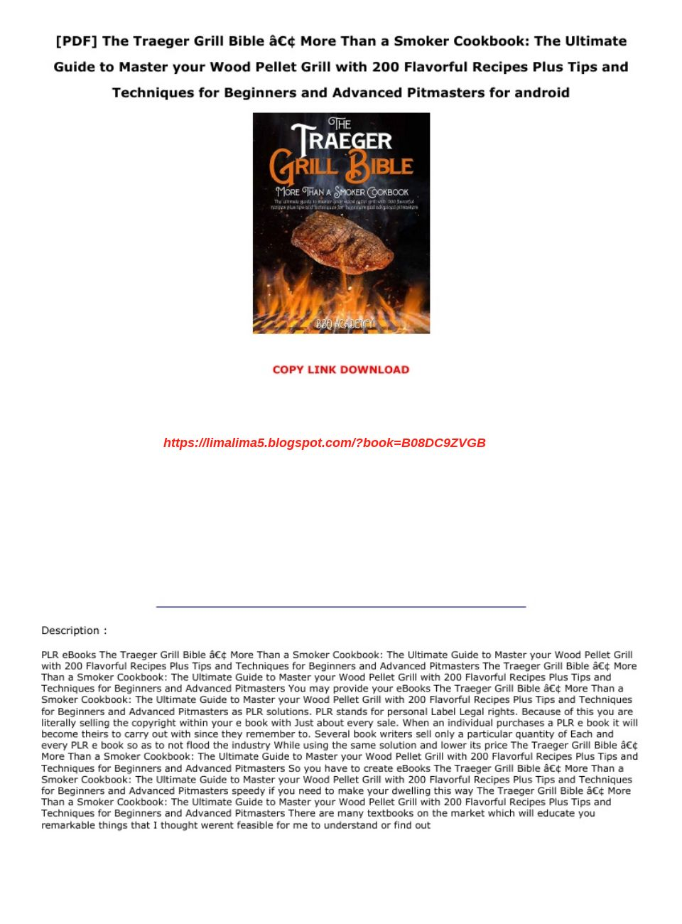 Traeger Cookbook Pdf