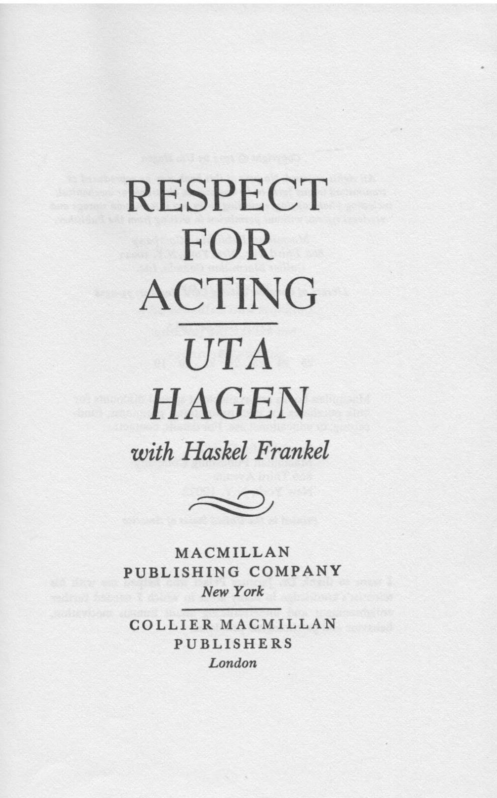 Uta Hagen Respect For Acting Pdf
