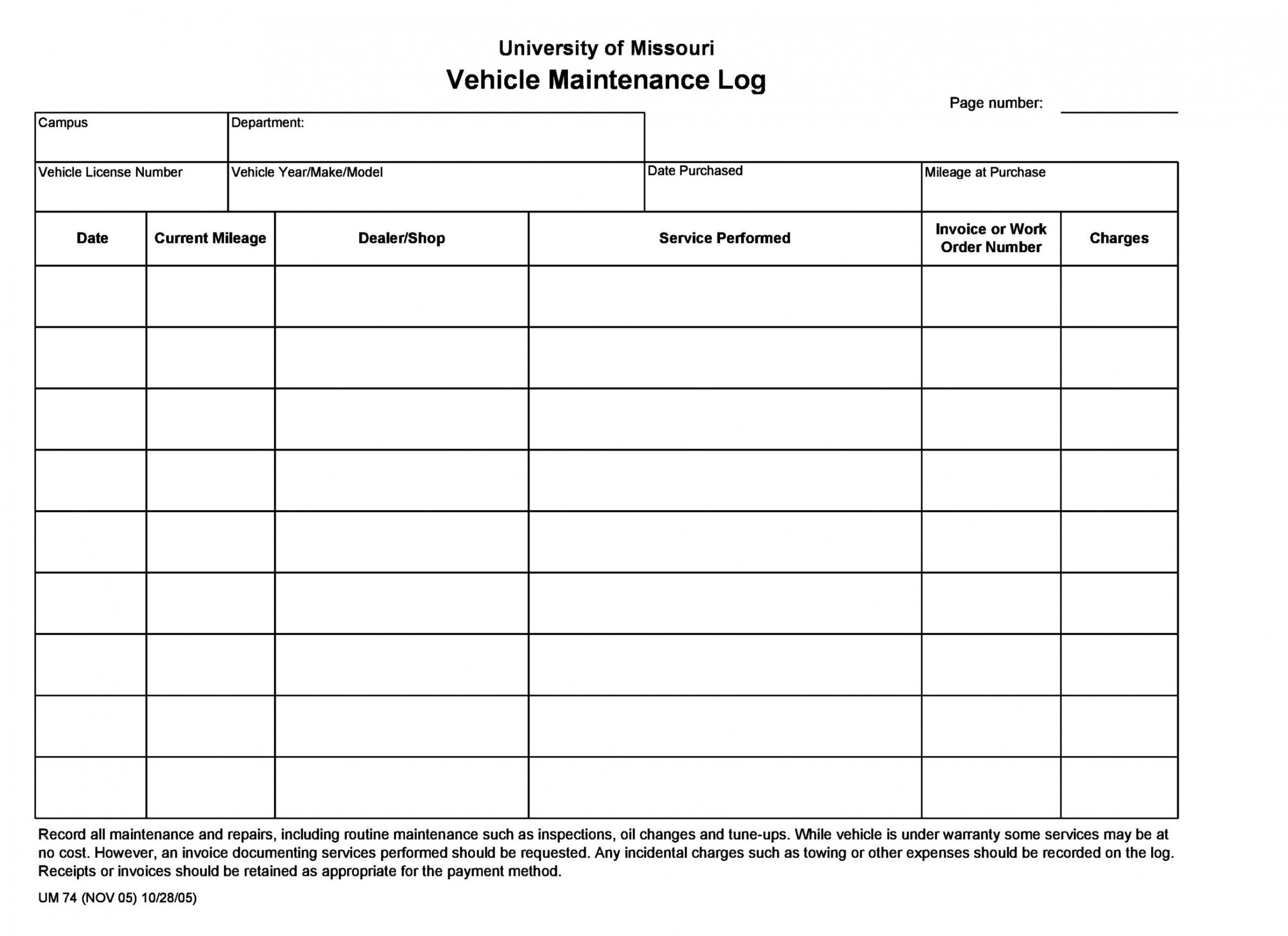 Vehicle Maintenance Log Book Pdf