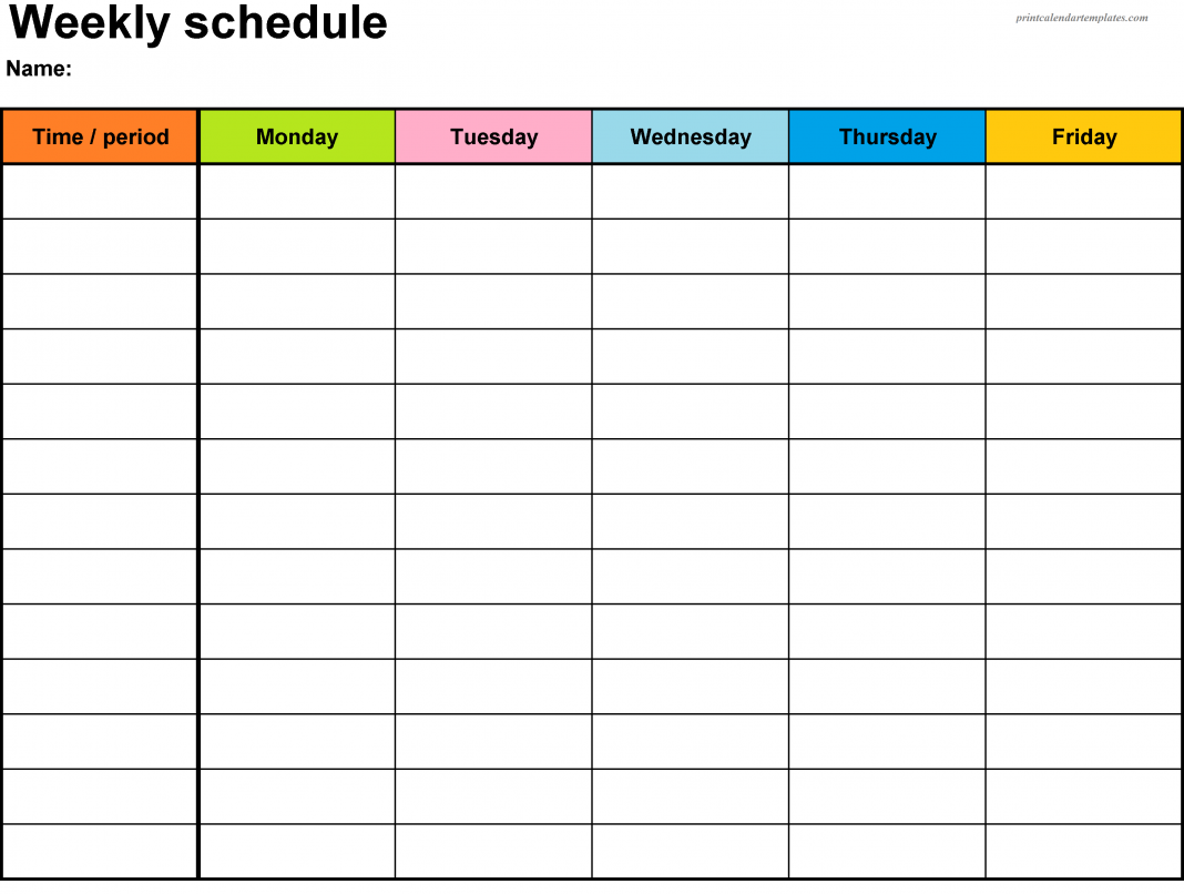 Weekly Free Workout Plan Template Pdf