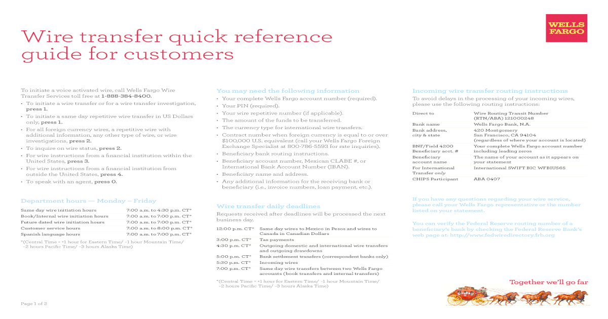 Wells Fargo Wire Transfer Pdf