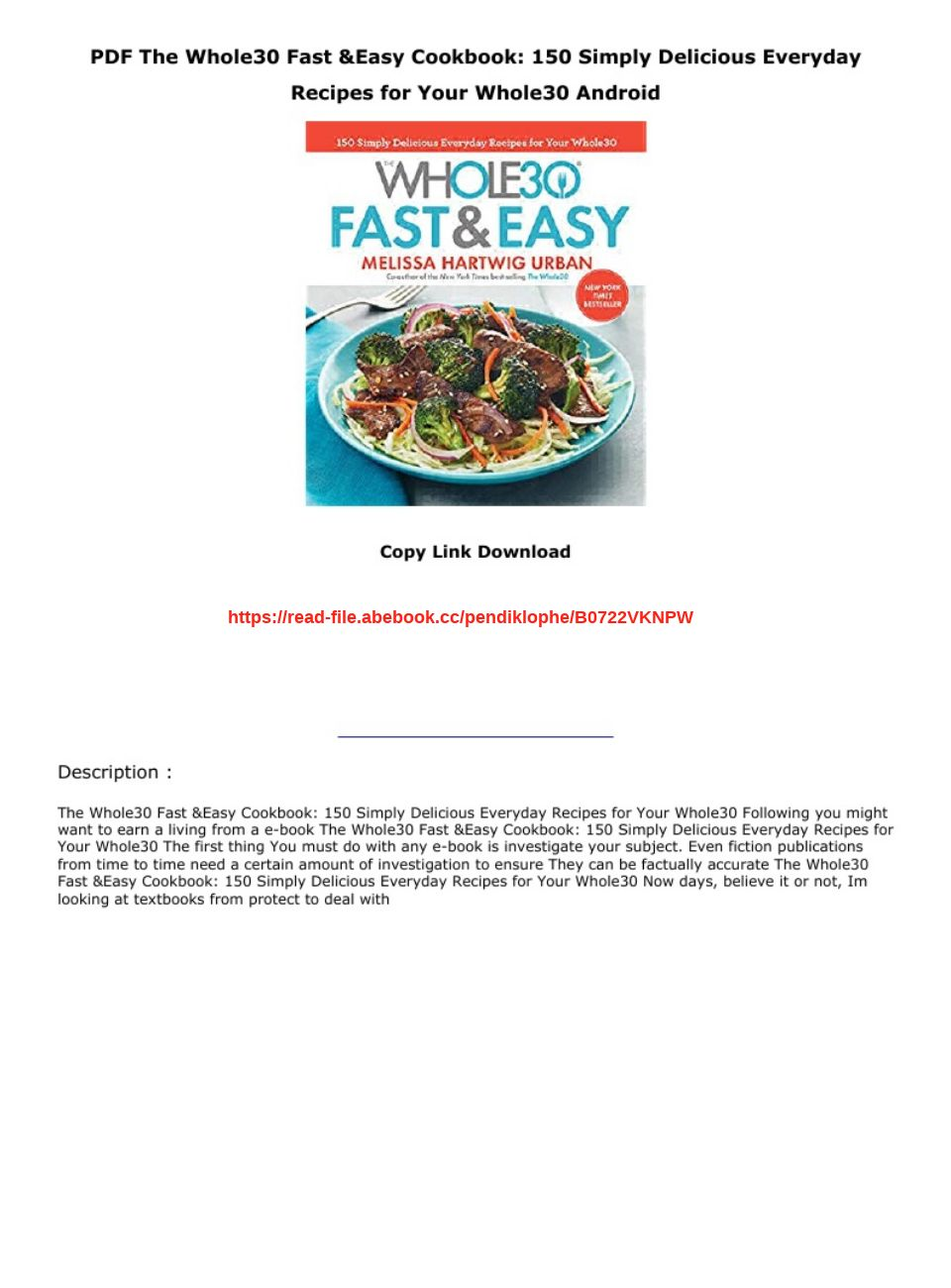 Whole30 Cookbook Pdf