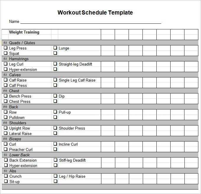Workout Chart Free Workout Plan Template Pdf
