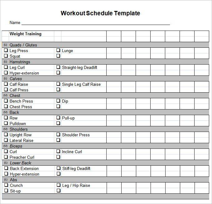 Workout Chart Free Workout Plan Template Pdf