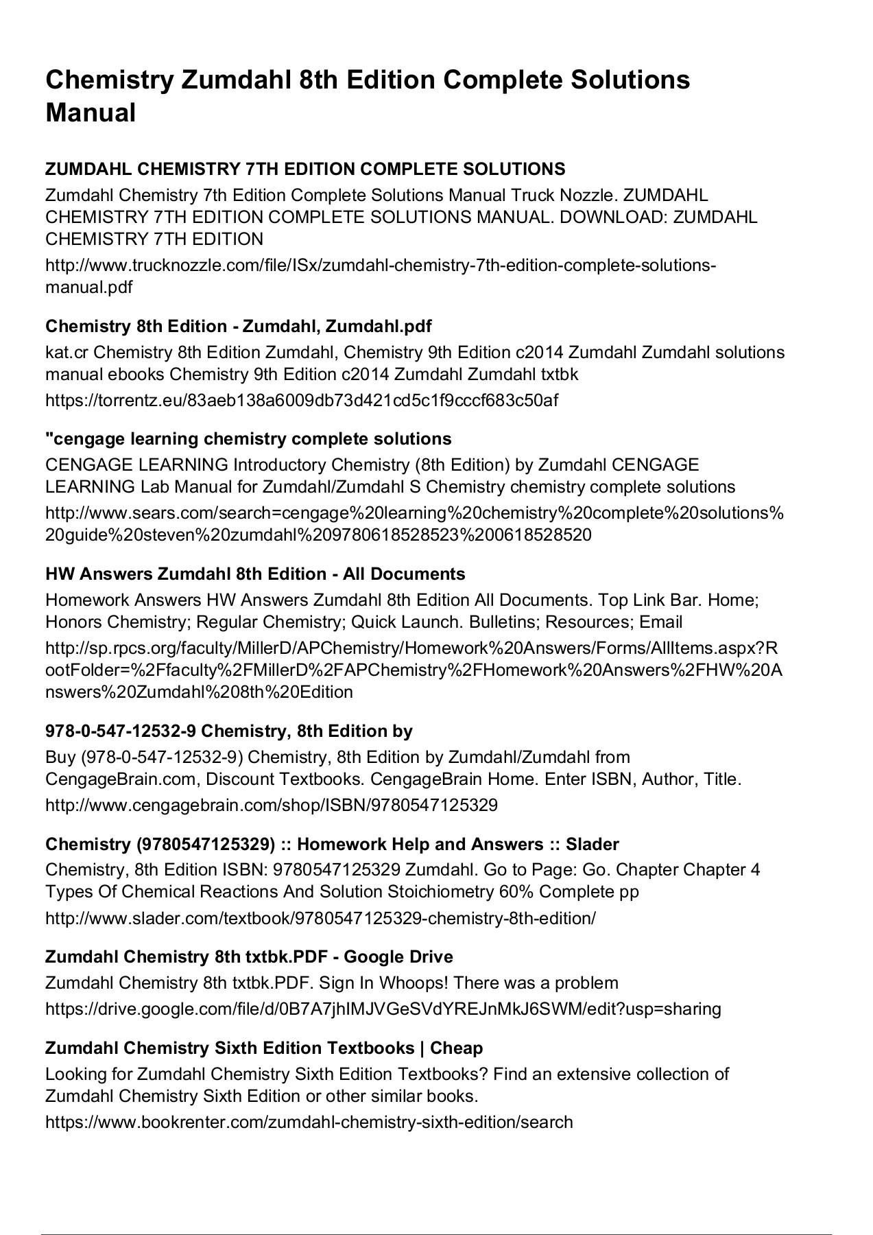 Zumdahl Chemistry 7th Edition Pdf Download