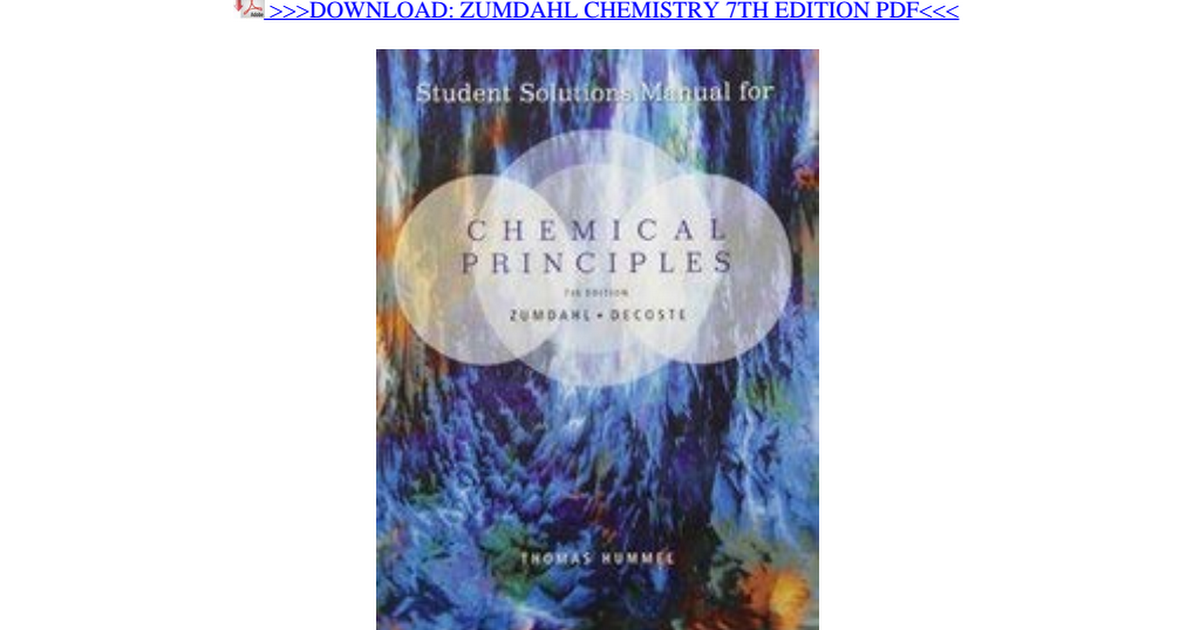 Zumdahl Chemistry 7th Edition Pdf