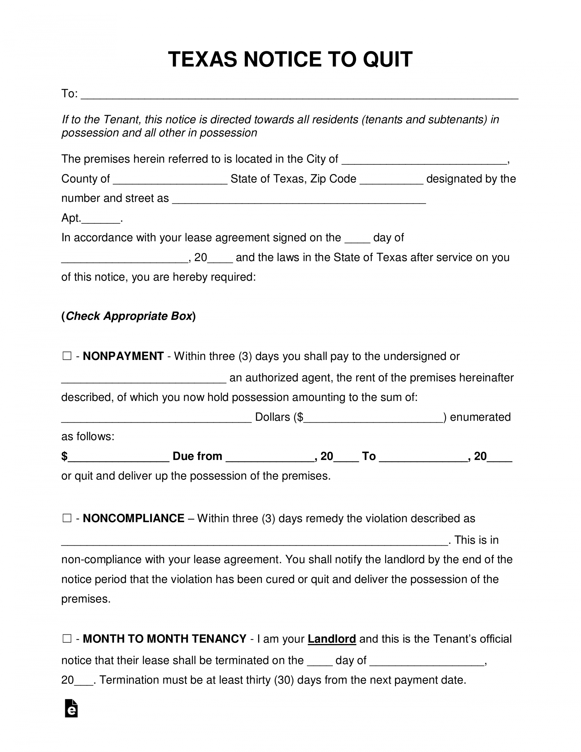 Printable Free Texas Eviction Notice Forms Process And Laws Pdf 30 Day Eviction Notice Template Texas Doc
