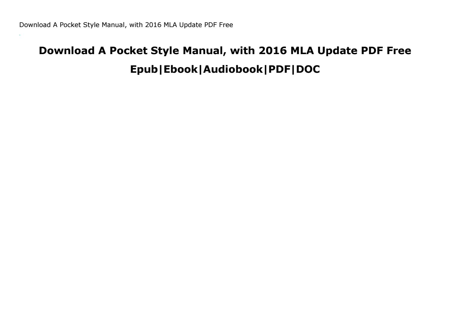 A Pocket Style Manual Pdf Free Download