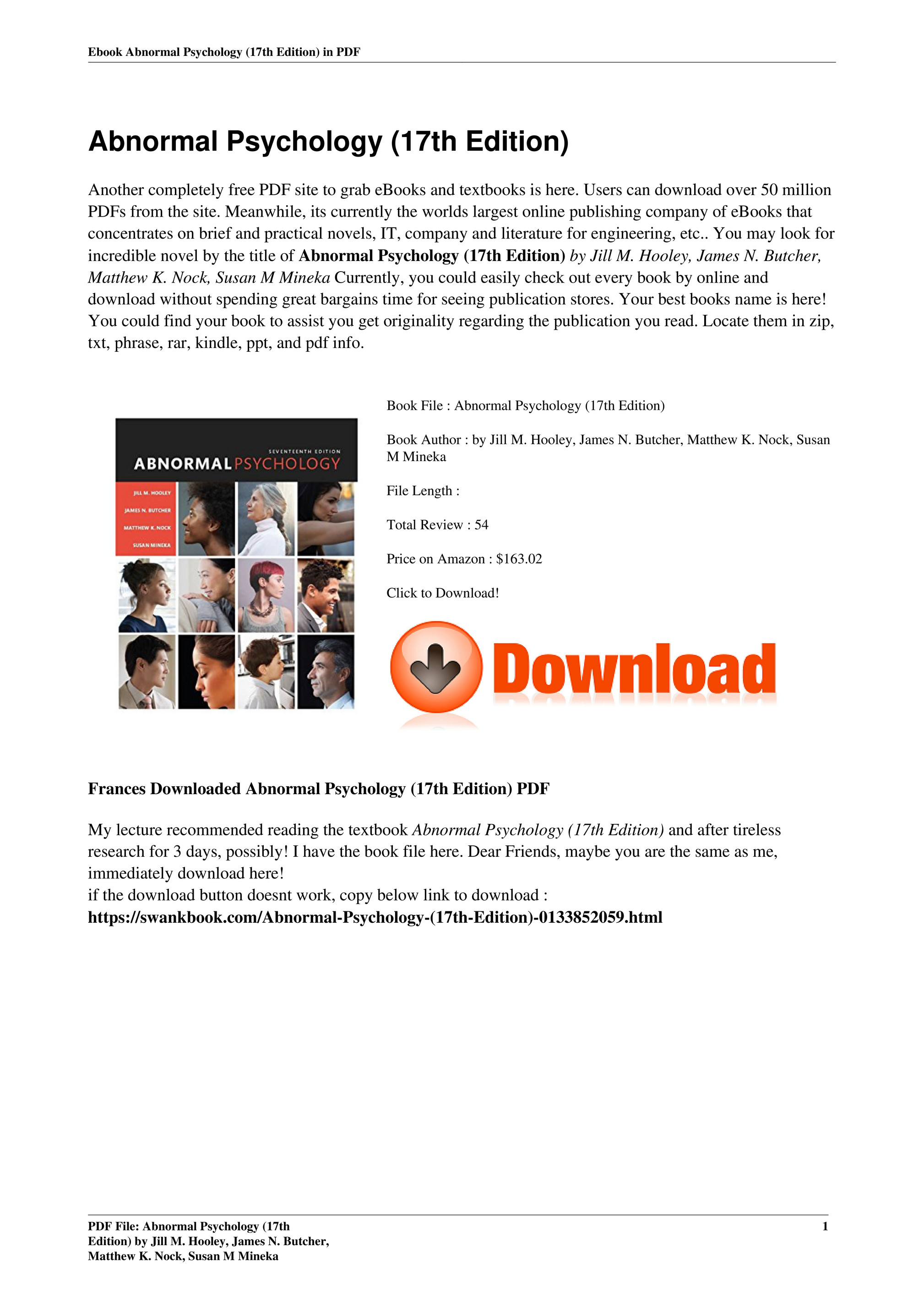 Abnormal Psychology 17th Edition Pdf Free
