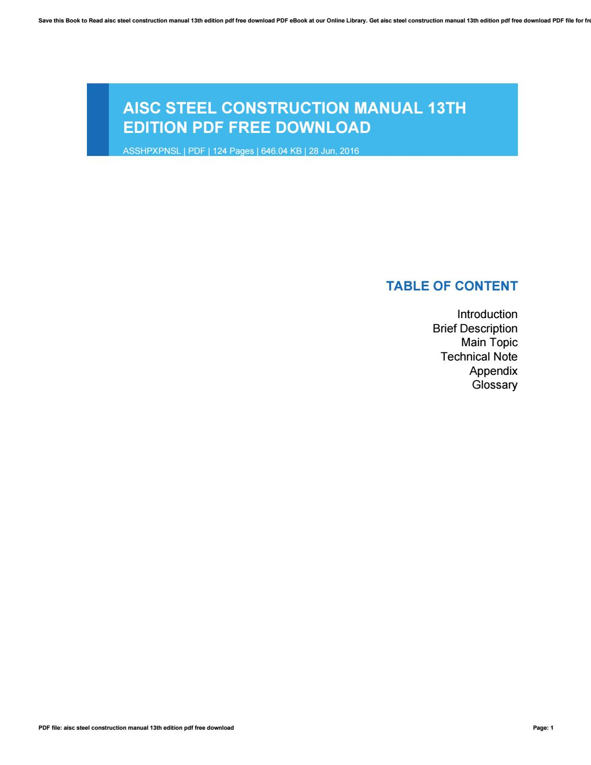 Aisc Manual Aisc Steel Tables Pdf