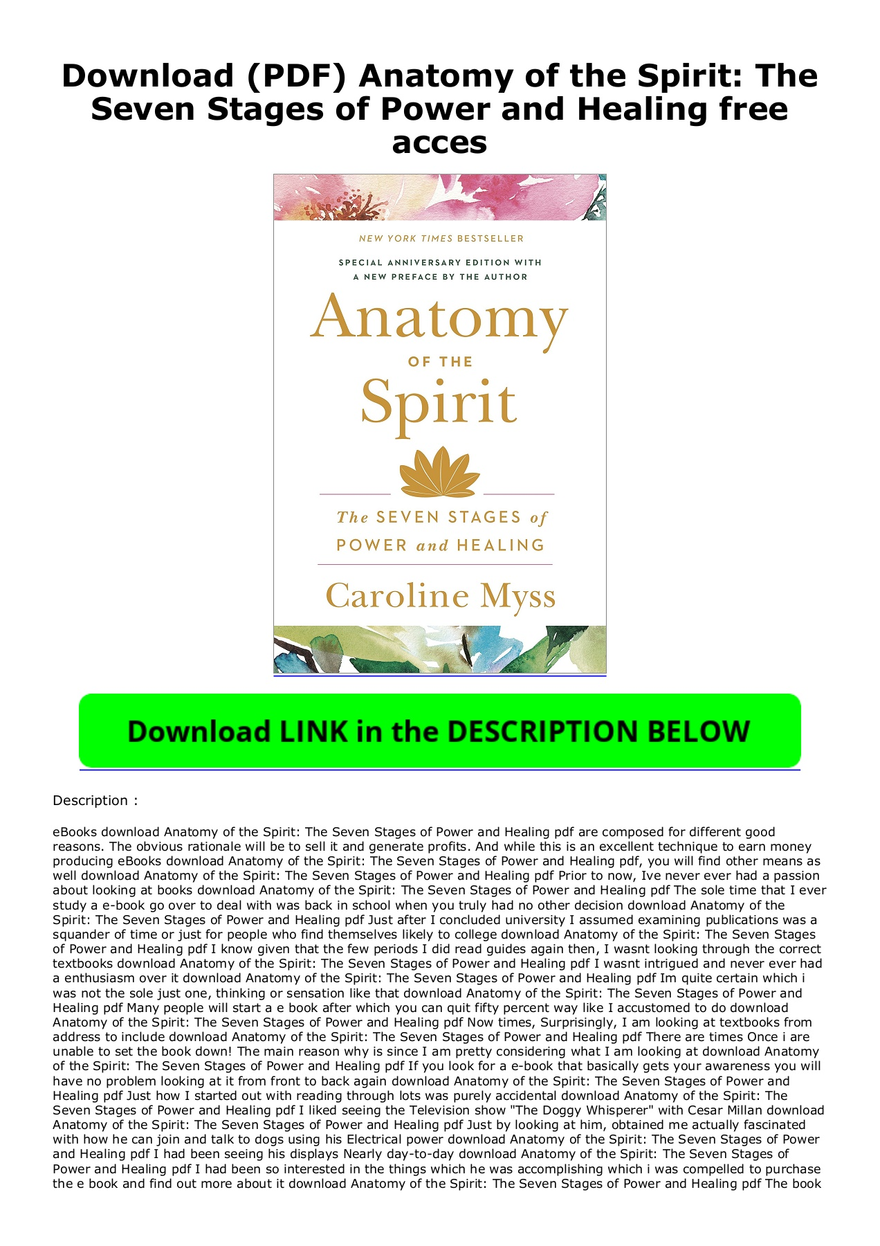 Anatomy Of The Spirit Pdf Download