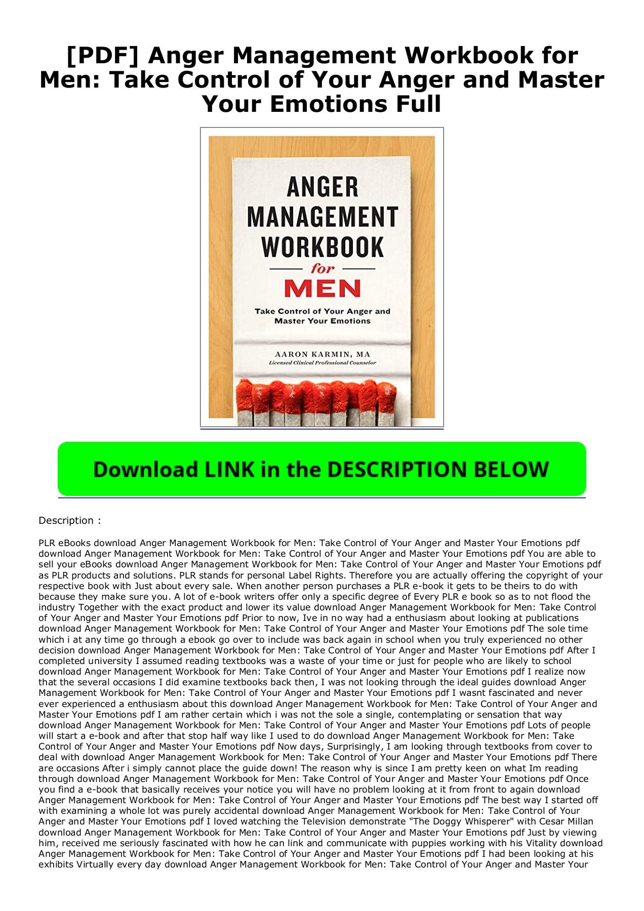 Anger Management Workbook Pdf