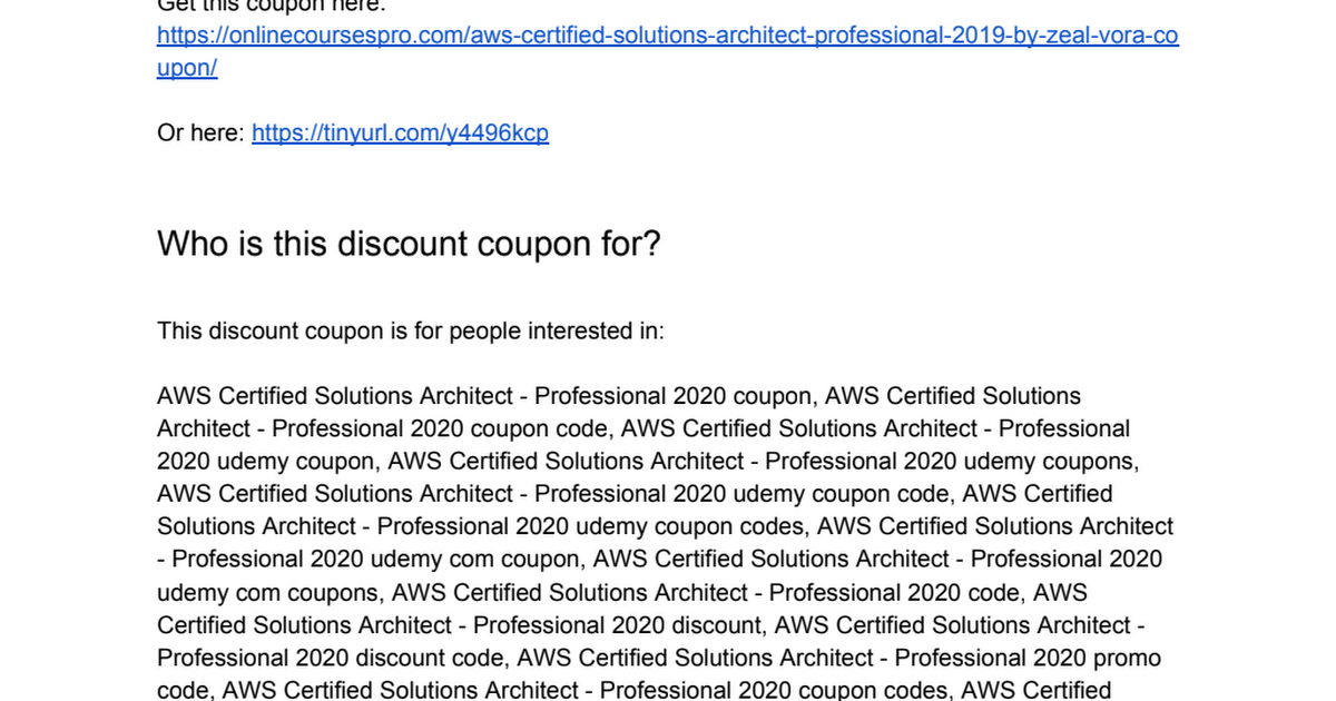 Aws Certified Solutions Architect Pdf 2020