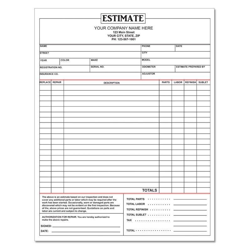Fillable Auto Repair Invoice Pdf