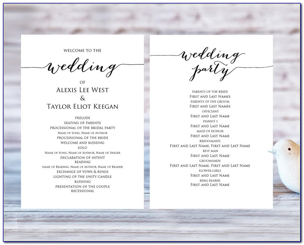 Free Wedding Program Template Pdf