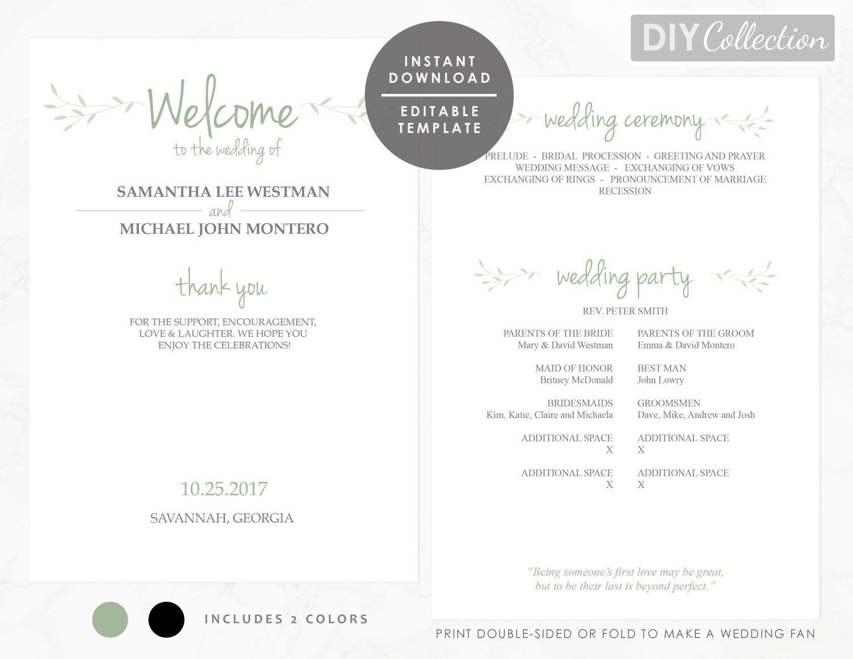 Pdf Printable Editable Wedding Program Template