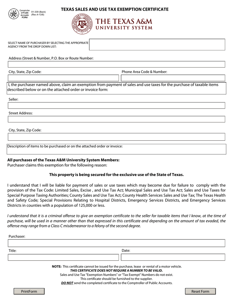Texas Resale Certificate Form Pdf