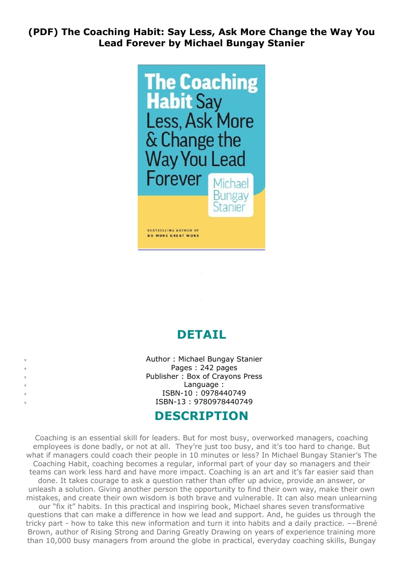 The Coaching Habit Pdf